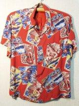 50's HAUOLI KAMAAINA製パネル状絵柄ヴィンテージハワイアンシャツ