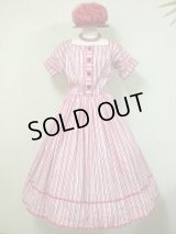 50's〜60's miss TRUde JR.製ヴィンテージ赤白ストライプワンピース(DEAD STOCK)