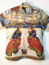 60's MARSHALL FIELD & COMPANY航海柄ヴィンテージコットンシャツ