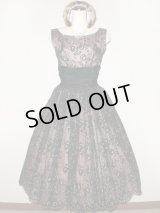 50's 黒×ピンクヴィンテージドレス